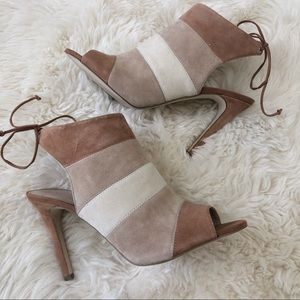 BCBG Shoes - BCBG Meirin Suede Tan Colorblock Tie Back Heels.10